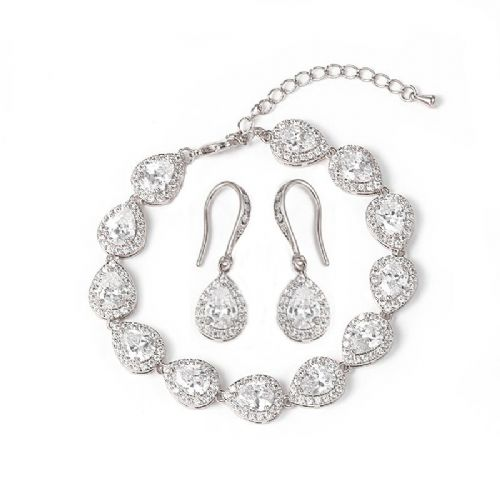 Braclet and Earring Set, CZ crystals wedding jewellery set